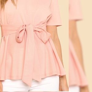 Tops - Belted Keyhole Blouse